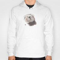ferret Hoodies featuring Ferret by Adam Dunt