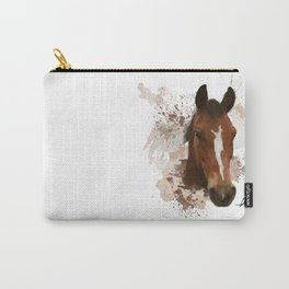 Brown and White Horse Watercolor Carry-All Pouch