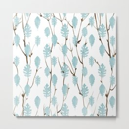 Blush blue brown watercolor leaves tree branch pattern Metal Print