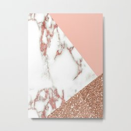 Marble - pink and gold Metal Print