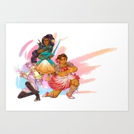 Magical Girl Floral Fighter Squad Art Print