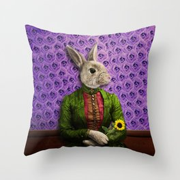 Miss Bunny Lapin in Repose Throw Pillow