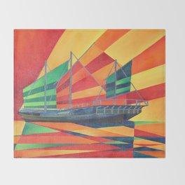 Sail Away Junk Pleasure Boat Throw Blanket