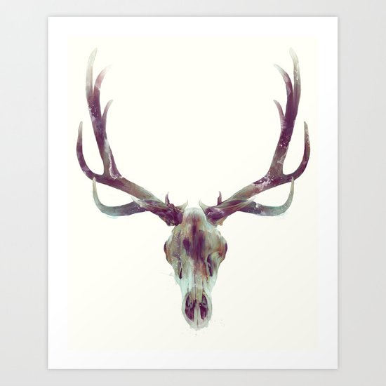 Elk Skull Art Print