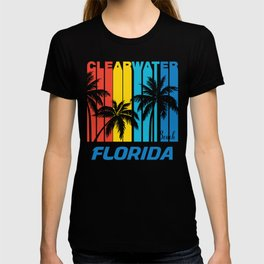 Retro Clearwater Beach Florida Palm Trees Vacation T-shirt