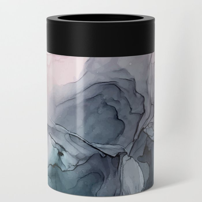 Blush and Payne's Grey Flowing Abstract Painting Can Cooler
