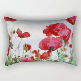 Field of Poppies Against Grey Sky Rectangular Pillow