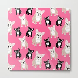French Bulldog Puppies Pink Metal Print