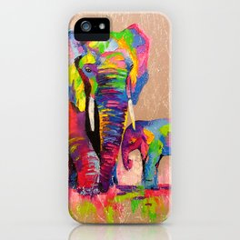 Elephants mother and son iPhone Case