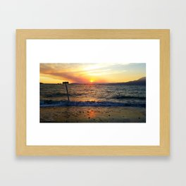 WAVES AT SUNSET Framed Art Print