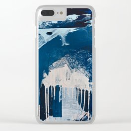 Solstice [3]: a minimal abstract mixed-media piece in blue and white by Alyssa Hamilton Art Clear iPhone Case