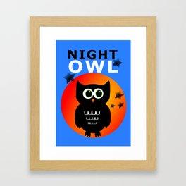 Black Owl on Moon Framed Art Print