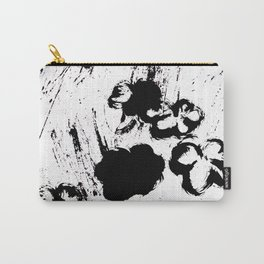 Black and whiteflorals 1.4 Carry-All Pouch