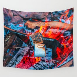 Roasting Marshmallows by the Campfire Wall Tapestry