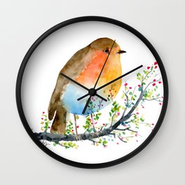 Watercolor Robin on Berry Branch Wall Clock