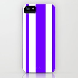 Mixed Vertical Stripes - White and Indigo Violet iPhone Case