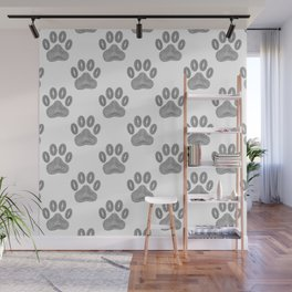 Tribal Ink Dog Paw Pattern In Black Wall Mural