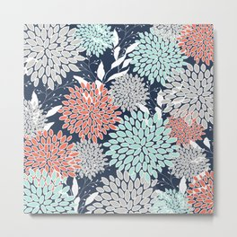 Floral Prints and Leaves, Navy, Aqua Coral and Gray Metal Print