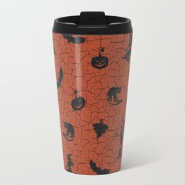 Halloween pattern on crackle orange background Travel Mug