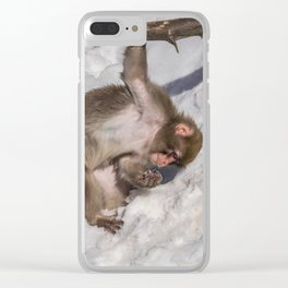 Japanese macaque Clear iPhone Case
