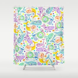 Whale Watching on Green Shower Curtain