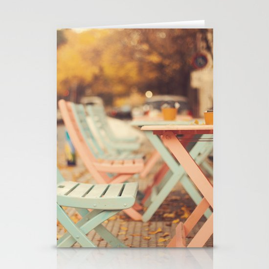 Dream Autumn (Pink and blue coffee shop chairs on retro and vintage fall) Stationery Cards