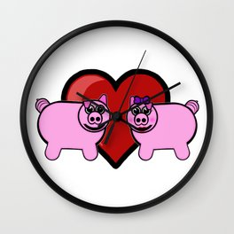 Piggy Love Wall Clock
