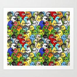 Too Many Birds! - Cockatiel Art Print