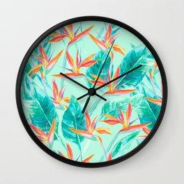 Birds Of Paradise Mint Wall Clock
