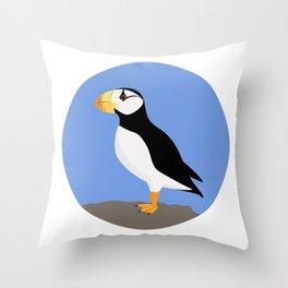 Horned Puffin Throw Pillow