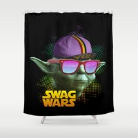 swag Shower Curtains featuring Yoda Swag by Heretic