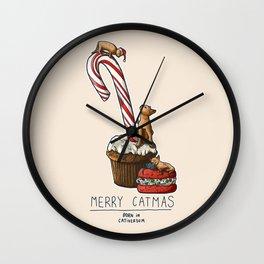 Merry Catmas Wall Clock