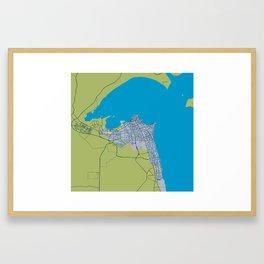 Minimalist Modern Map of kuwait City, Kuwait 5 Framed Art Print