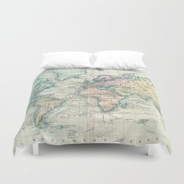 Vintage Map of The World (1801) Duvet Cover