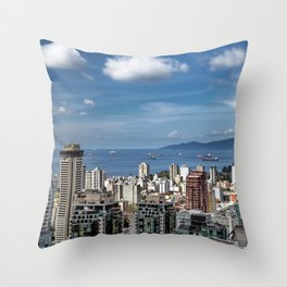 Aerial view at Downtown Vancouver Throw Pillow