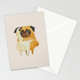 Pug Hugs Watercolor Stationery Cards