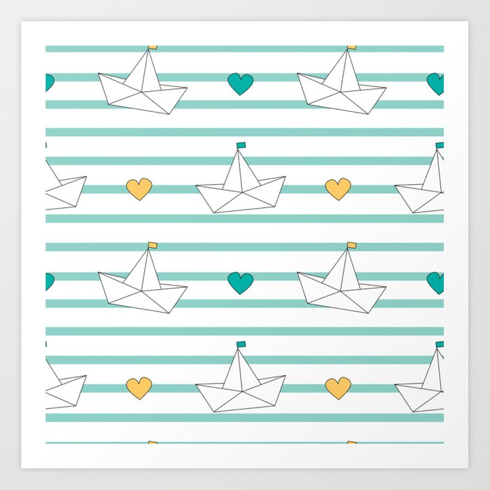 Cute Cartoon Paper Boats Seamless Pattern Background Illustration