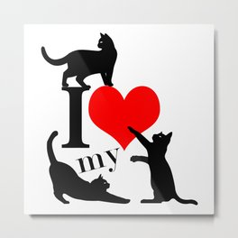 I Love My Cats - black red Metal Print