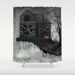 Haunted House and Jolly Pumpkin Shower Curtain