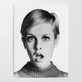Twiggy, Retro Fashion Icon, Vintage Black and White Art Poster