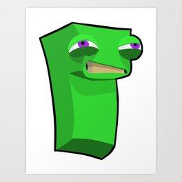 Green Block Dude Art Print
