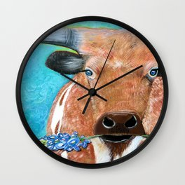 Longhorn with Bluebonnet Wall Clock