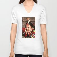 korean V-neck T-shirts featuring Korean Dancing Girls II by Robert S. Lee Art