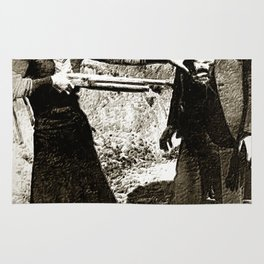 Painting Of Bonnie And Clyde Mock Hold Up Black And White Mugshot Rug