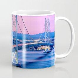 Lit Akashi Strait Bridge Under Vibrant Purple Sky Coffee Mug