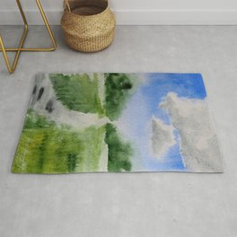 Summer clouds watercolor painting Rug