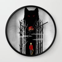 stiles stilinski Wall Clocks featuring Stiles und der boese Wolf. by suis0u