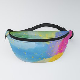 colorful rainbow abstract fluoro pink Fanny Pack