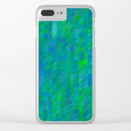 evelyn - bright emerald green and turquoise blue mosaic design Clear iPhone Case