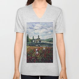 Women Gathering Red Poppies in Northwest Paris, France commune, Vétheuil by Claude Monet Unisex V-Neck